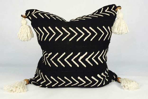 black tassel african mudcloth pillow