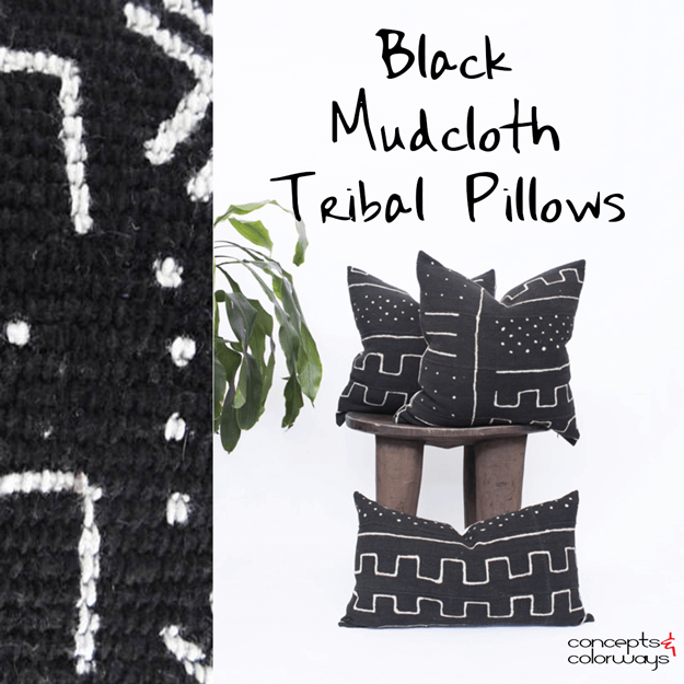 black mudcloth tribal pillow design trend