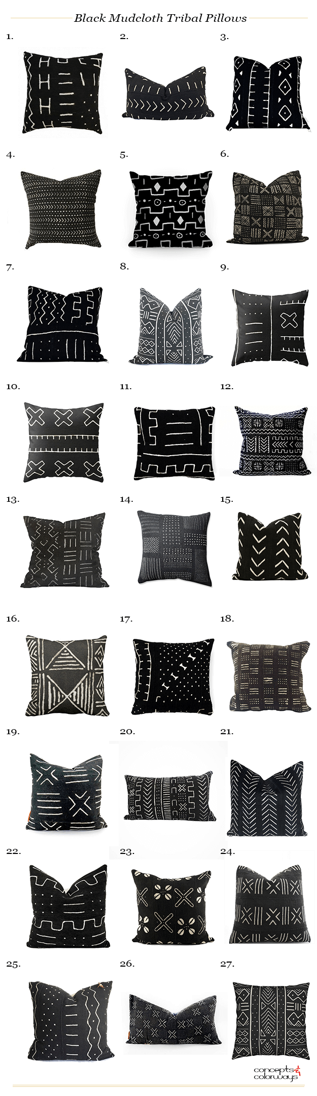 black mudcloth tribal pillows product roundup