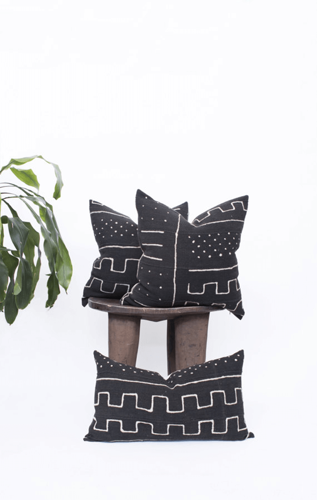black mudcloth tribal pillows