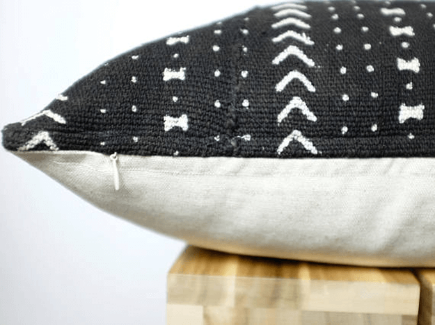 black mudcloth african tribal pillow