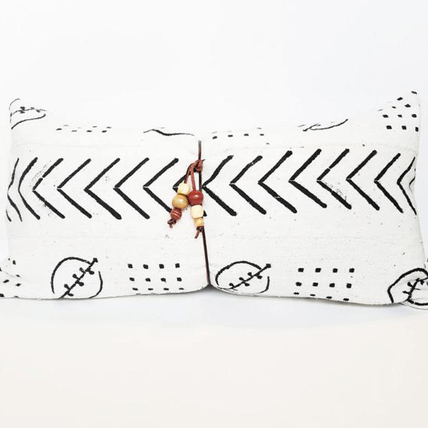 white african mudcloth tribal lumbar pillow