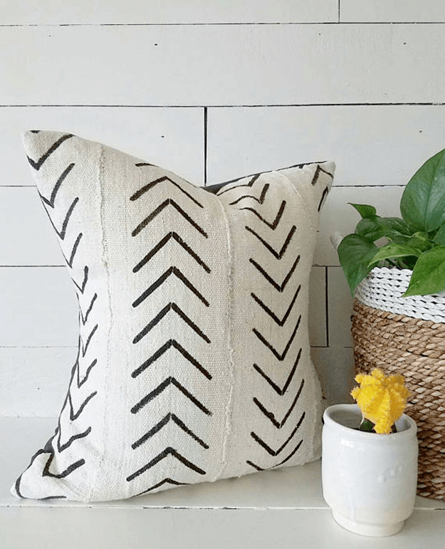 authentic white african mudcloth triball pillow