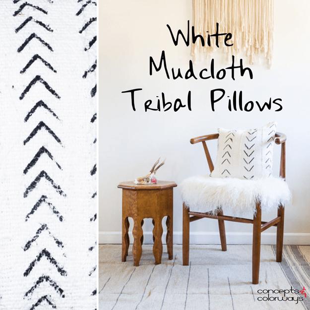 white mudcloth tribal pillow design element
