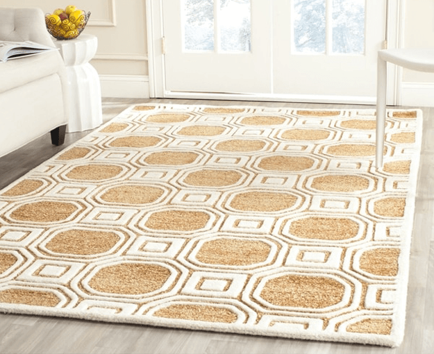 camel brown and white geometric rug