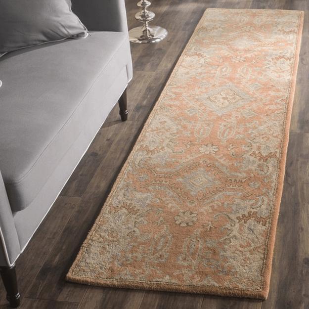 terracotta floral wool rug