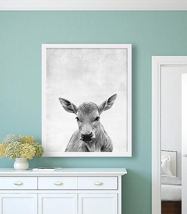 calf photo on mint green wall
