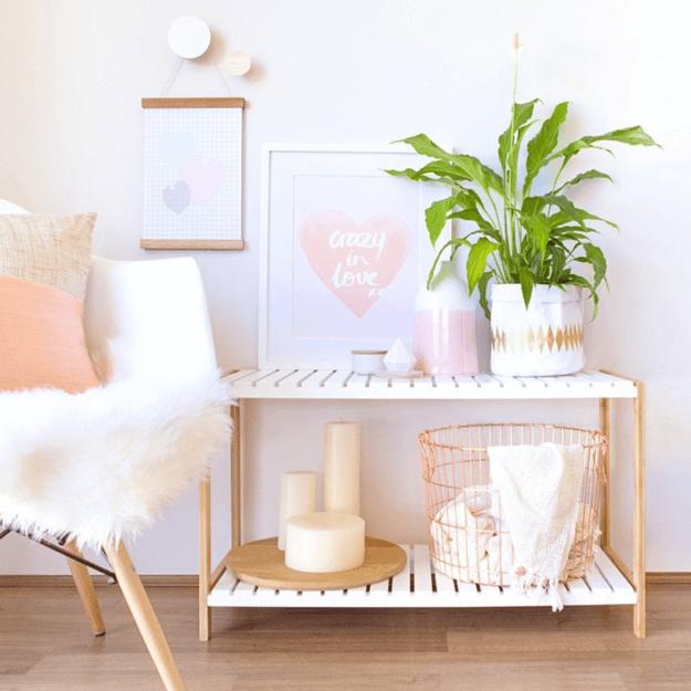copper and blush peach interior