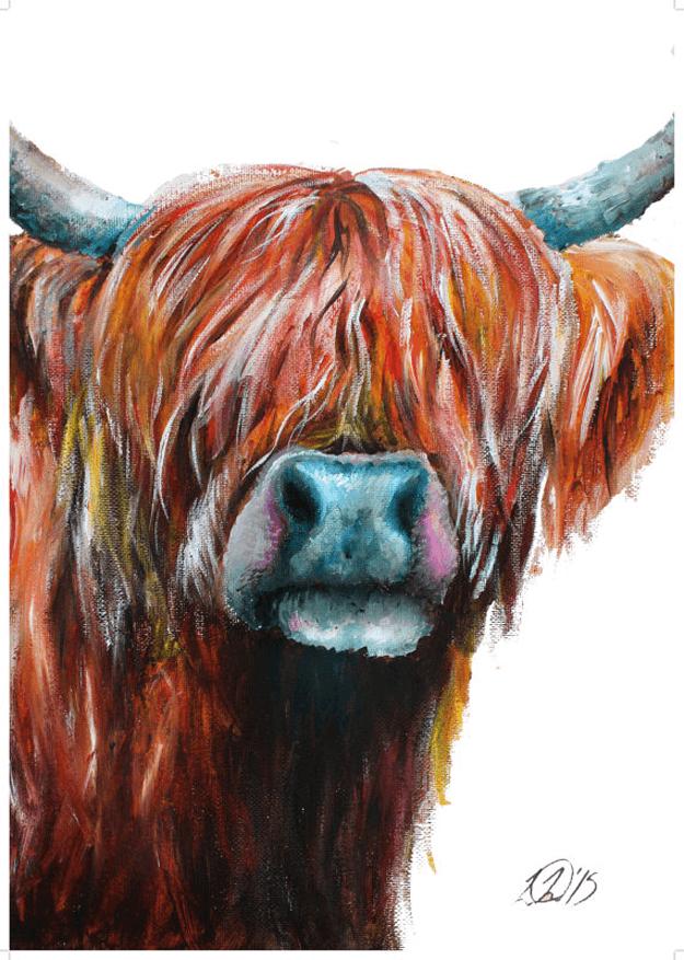 dark brown highland cow painting