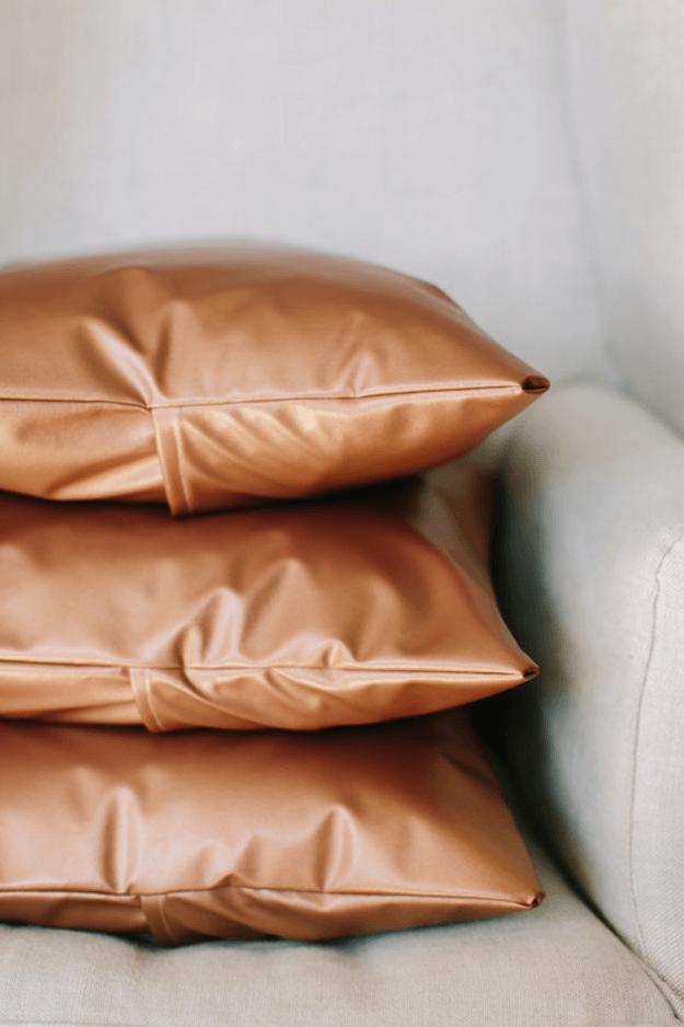 metallic copper faux leather pillows