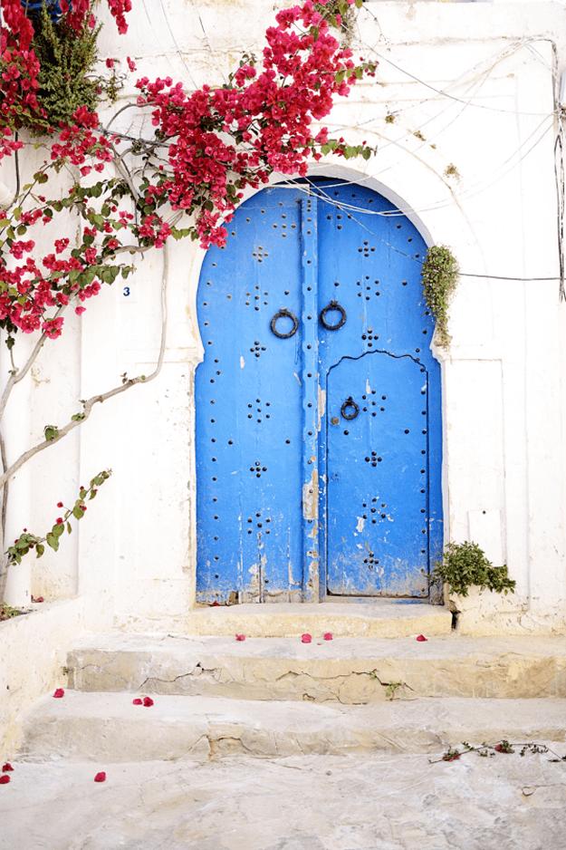 Tunisia door blue arched door red flowers