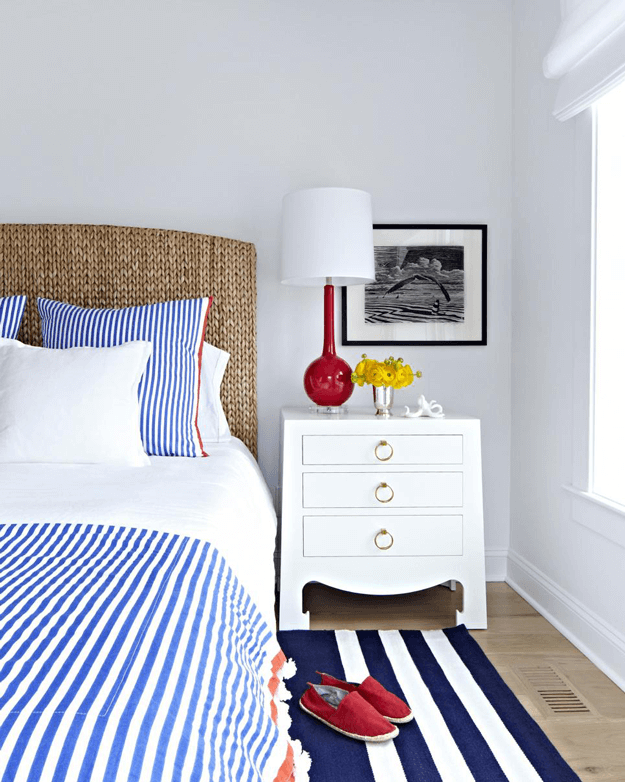 nautical style bedroom with red white and blue accents