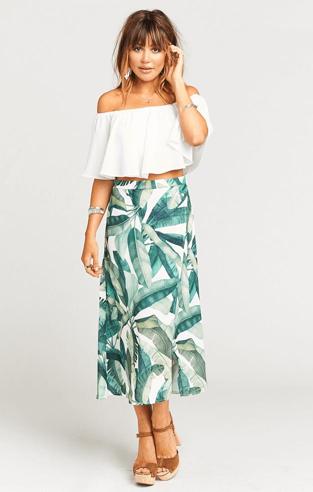 banana leaf print skirt with white top