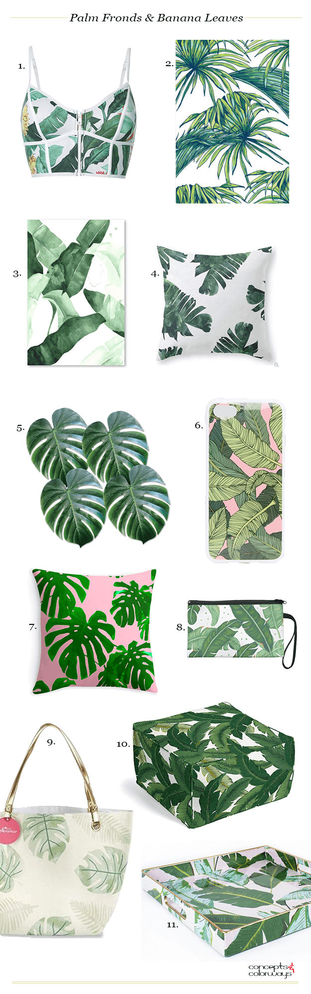 palm fronds and banana leaves tropical print product roundup