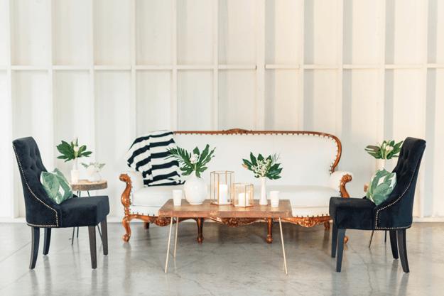 creamy white interior with banana leaf print and black stripes