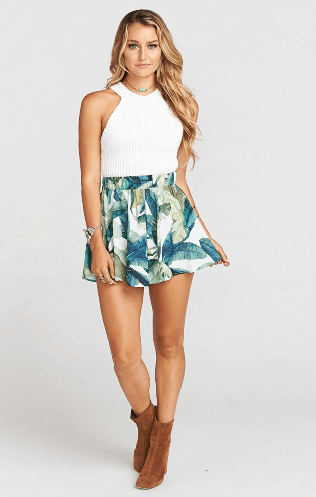 banana leaf print shorts with white top