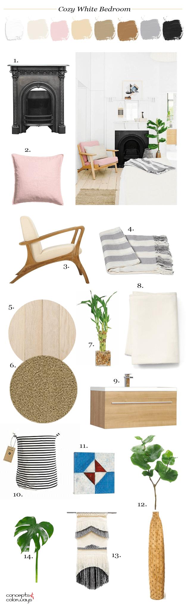 white bedroom interior design mood board