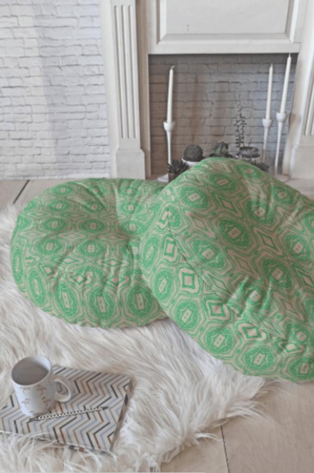 spring green floor pillows