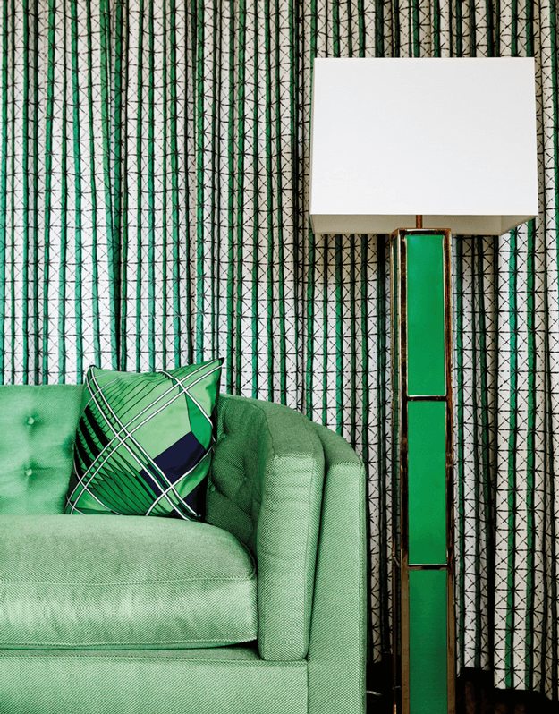 emerald green and spring green interior