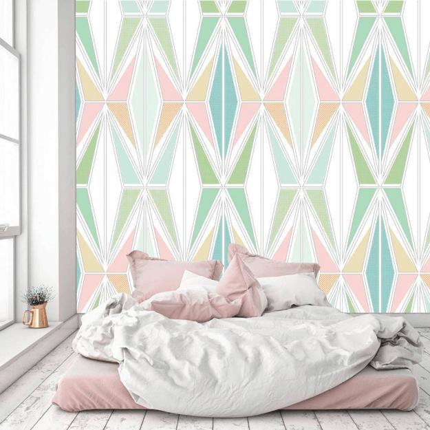 spring green and blush pink wallpaper