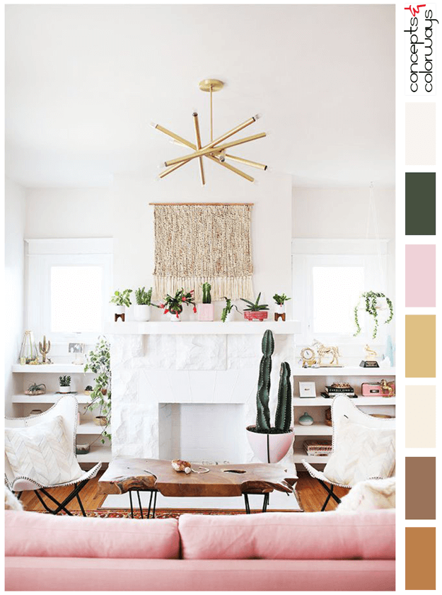 white room with blush pink and gold accents color palette