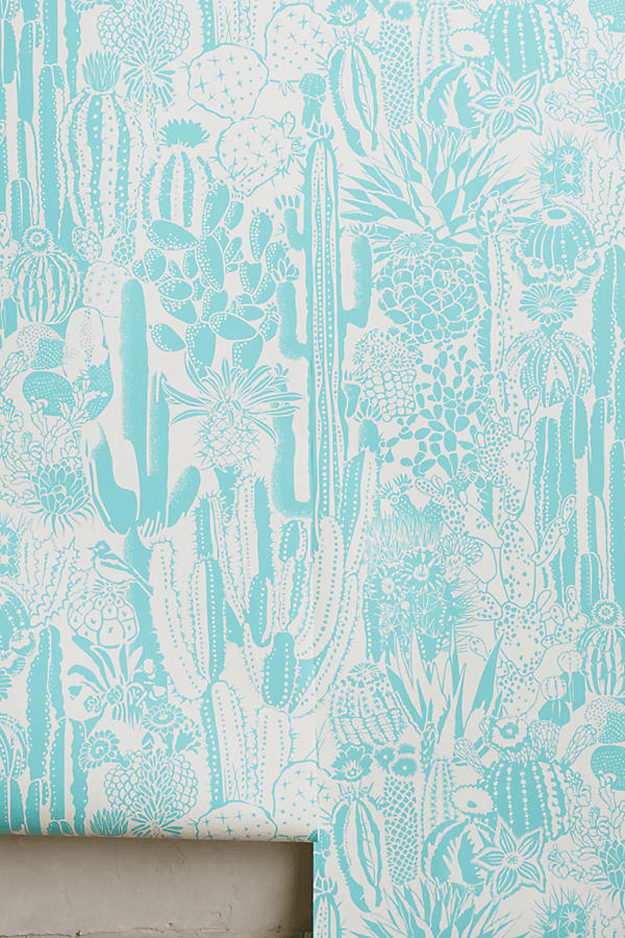 light turquoise cactus print wallpaper