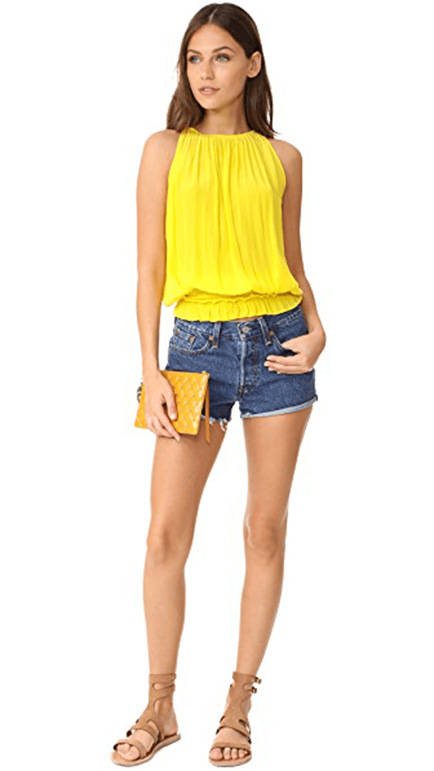 bright yellow sleeveless blouse