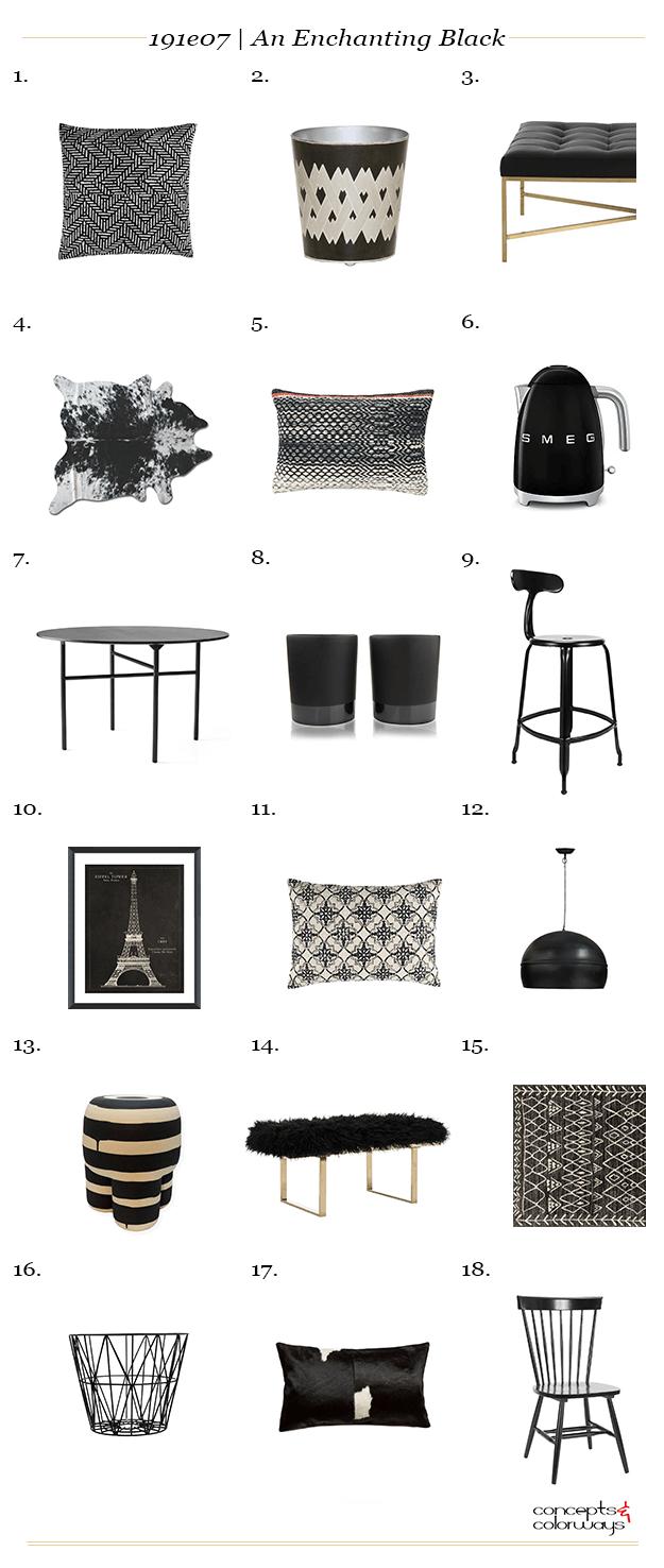 black interior design product roundup