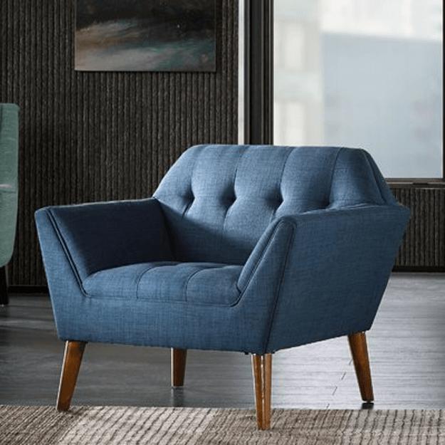 slate blue modern lounge chair