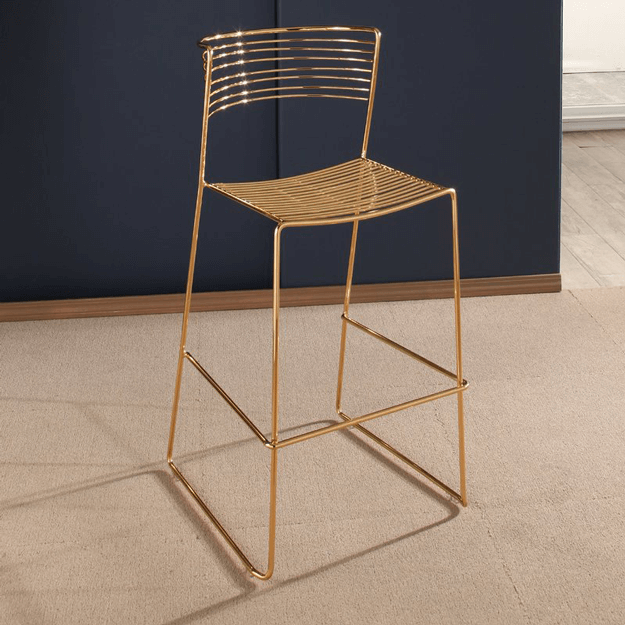 gold metal wire barstool