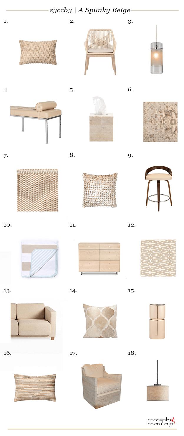 spunky beige interior design product roundup
