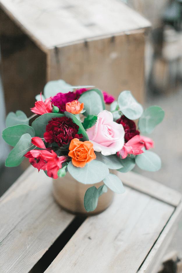flower arrangement with jade green accents