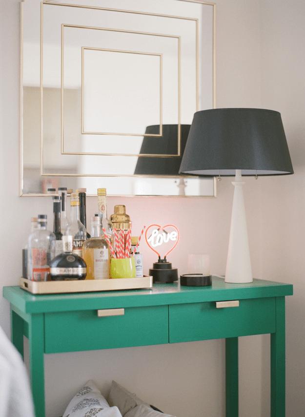 emerald green console table