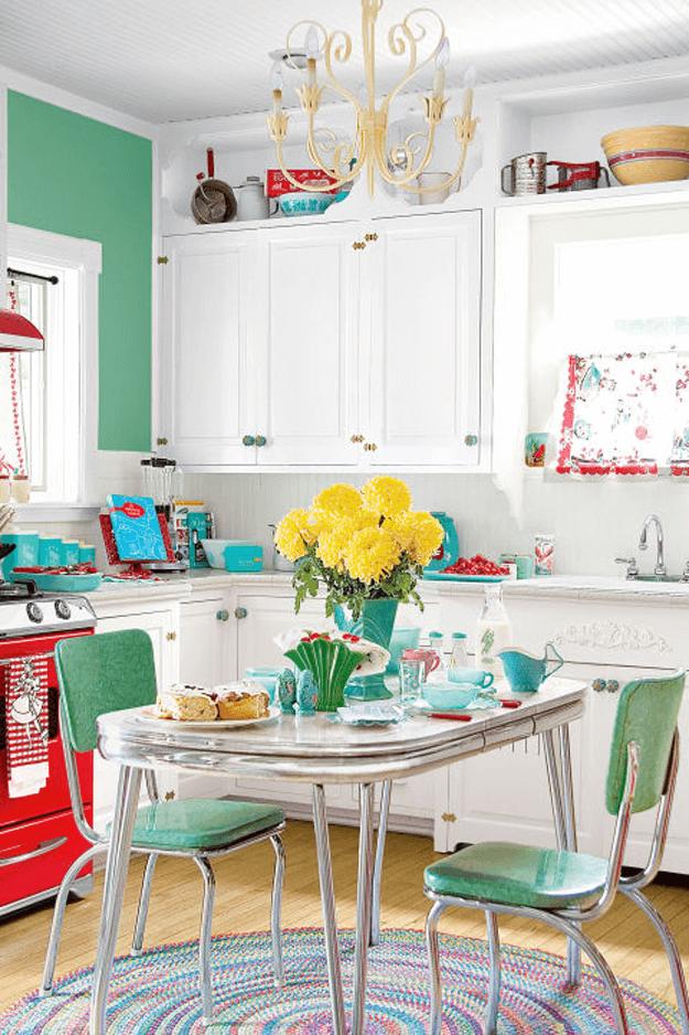 mint green retro style kitchen