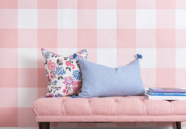 blush pink and periwinkle blue interior