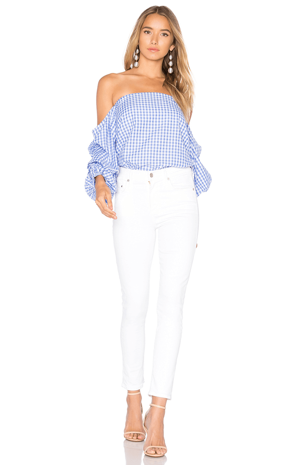 french blue and which checked blouse
