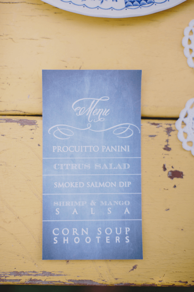 periwinkle blue menu on yellow table