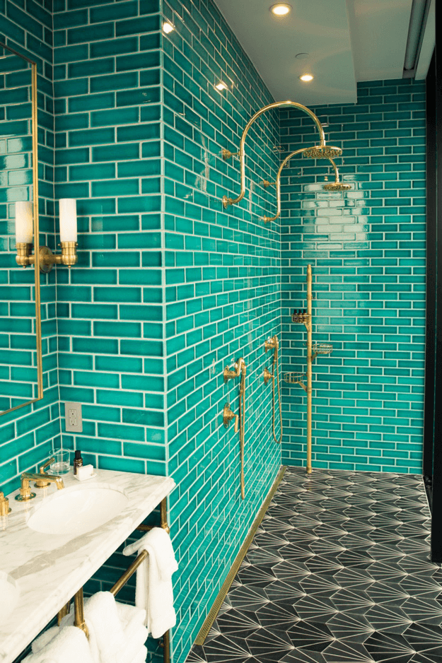 shower with emerald green wall tile