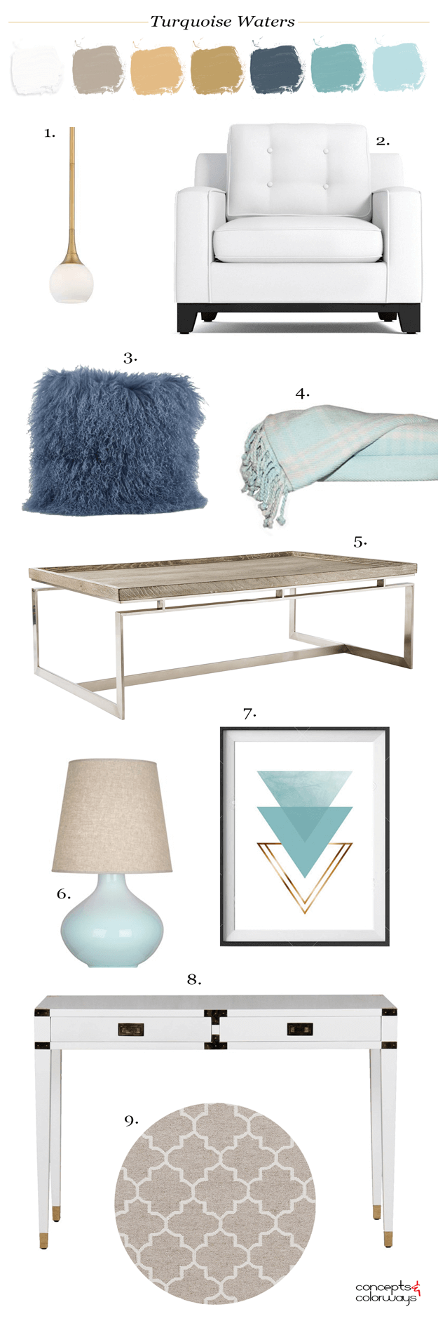 coastal style living room mood board