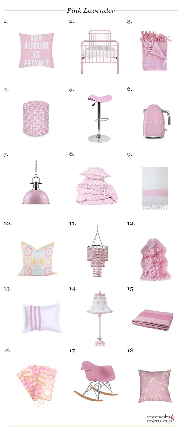 pantone pink lavender interior design product roundup