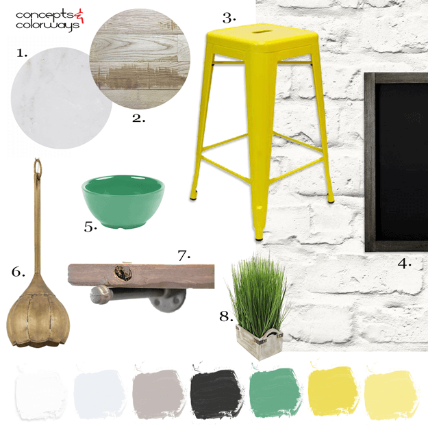 AN INDUSTRIAL STYLE KITCHEN WITH BRIGHT YELLOW STOOLS