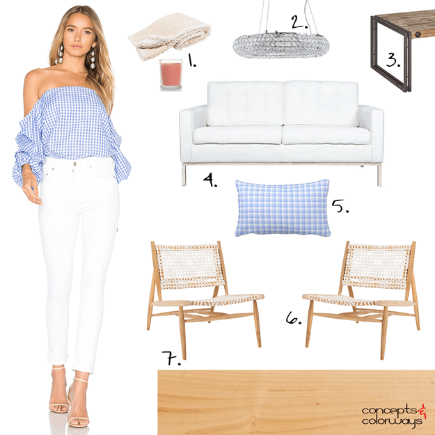blue gingham off the shoulder top with white jeans