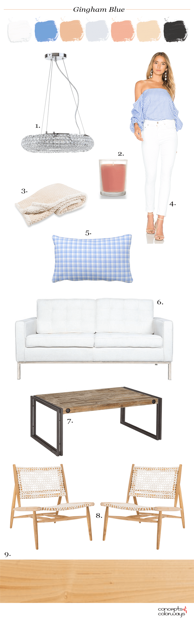 blue and white living room, blue and white decor, blue gingham pillow, blue gingham off the shoulder top with white jeans, gingham blue, blue gingham,