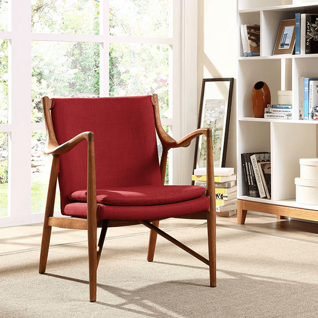 chili red upholstered mid century modern chair