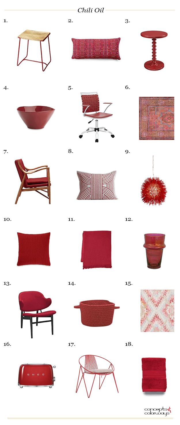 pantone chili oil, maroon decor, red decor, red home decor, red furniture