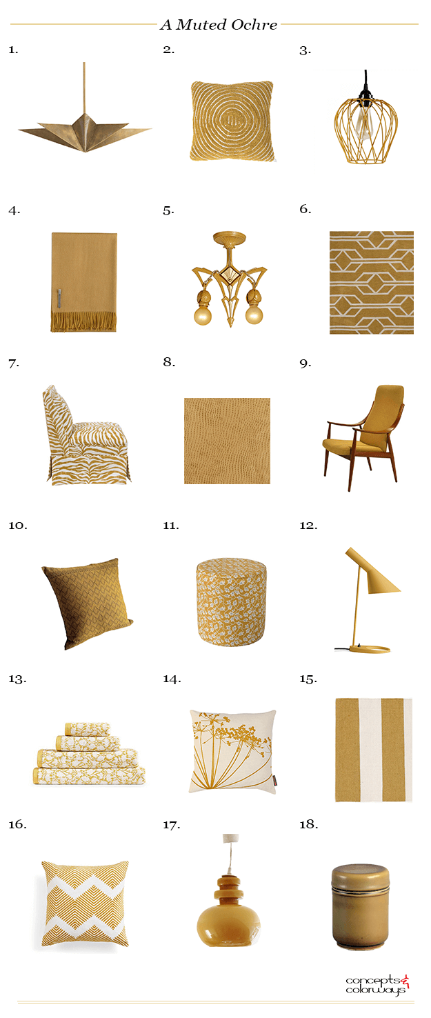 a muted ochre interior design color trend, ochre, ochre color, yellow ochre, mustard yellow product roundup
