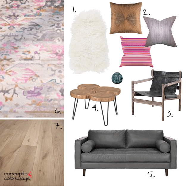 A MODERN LIVING ROOM DESIGN INSPIRED BY A PINK RUG