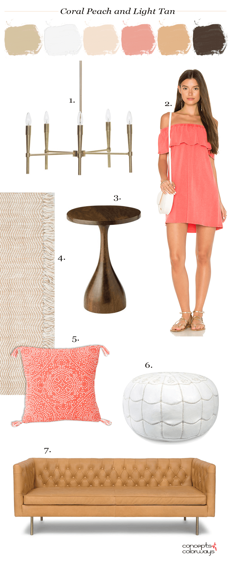 coral dress, coral peach, tan leather sofa, tan leather couch, peach pillow, peach throw pillows, coral pillows, coral throw pillows, gold modern chandelier, white moroccan pouf, leather pouf, moroccan pouf, jute rug, round side table, modern side table