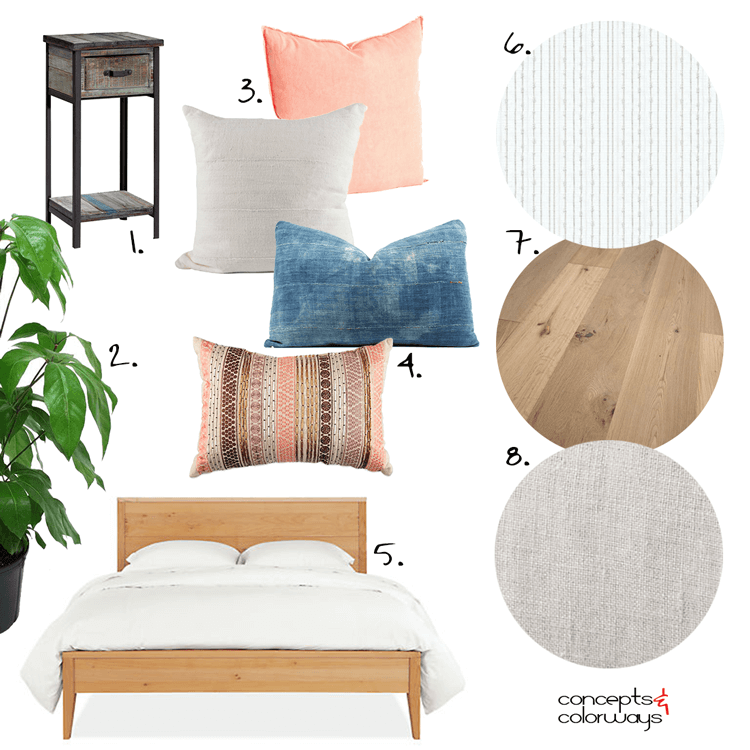 A WHITE BEDROOM DESIGN WITH PEACH AND INDIGO ACCENTS