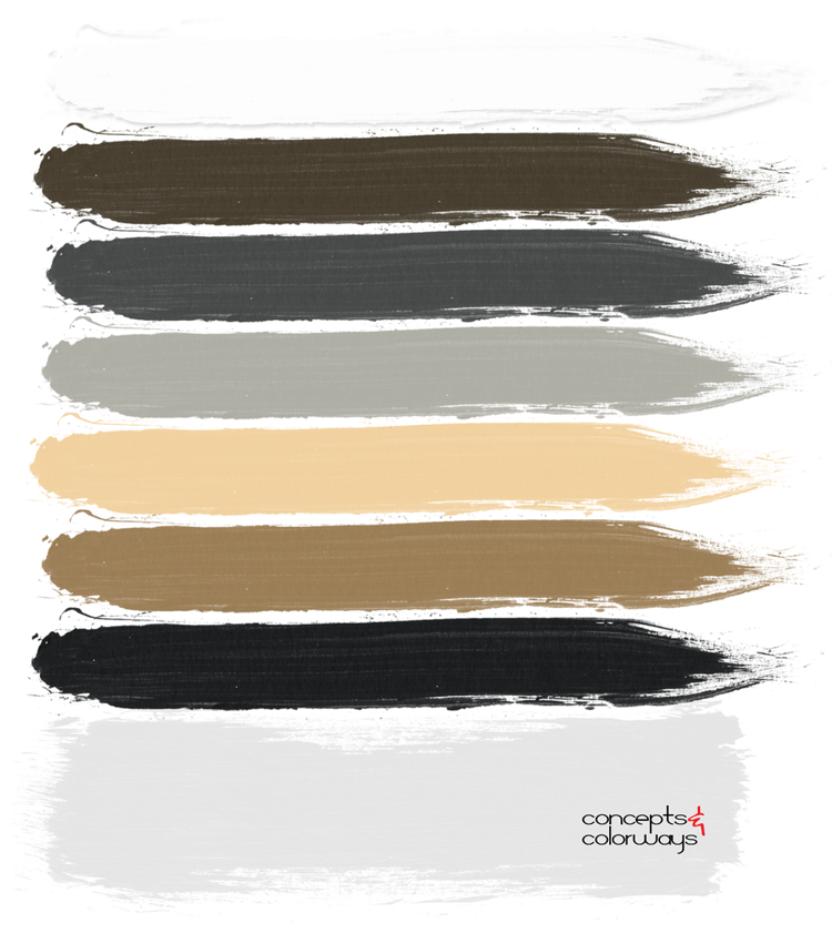 masculine style paint palette, light gray, black and white, ochre, honey oak, dark gray, bronze color